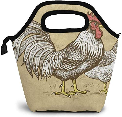Bolsa de almuerzo de gallo, pollo, enfriador con aislamiento térmico, reutilizable, lonchera, bolso portátil para el trabajo escolar