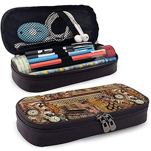 Kom Fly with Me Steampunk Collage Pencil Case Grote Capaciteit Potlood Tas Duurzame Make-up Pen Pouch met Dubbele Rits Pen Houder