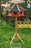 BTV Vogelhaus-Blockhaus mit Landebahn LED wetterfest Ständer,