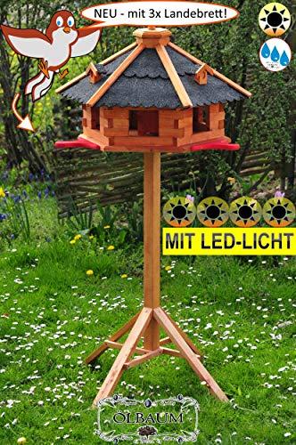 BTV Vogelhaus-Blockhaus mit Landebahn + LED wetterfest Ständer,