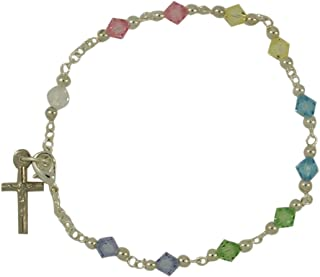 Needzo Colorful Bead Rosary Bracelet with Crucifix Charm, 7 Inch