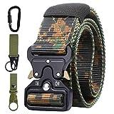 AivaToba Cintura Tattica Uomo Heavy Duty Nylon Cintura Cobra Militare Esercito con Fibbia in Metallo a Sgancio Rapido per Caccia Trekking Esercizi Sportive Lavoro,125cm (Camuffare)