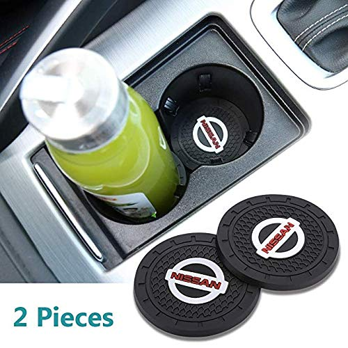Shum 2 PCS 2.75 Inch car Logo Silicone Cup Holder Coaster,Vehicle Travel Auto Cup Holder Insert Coaster Mat for Nissan car Accessories (for Nissan)