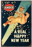 本当の幸せな新年のブリキのサインヴィンテージ面白い生き物鉄の絵の金属板人格ノベルティ