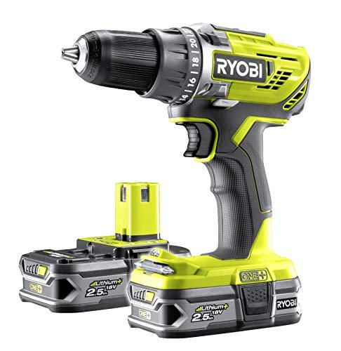 Ryobi R18DD3-225S Taladro Atornillador inalámbrico de 2 velocidades, con 2 baterías (2,5 Ah) y Cargador rápido, Tiempo de Carga Aprox. 75 min-R18DD3-225S