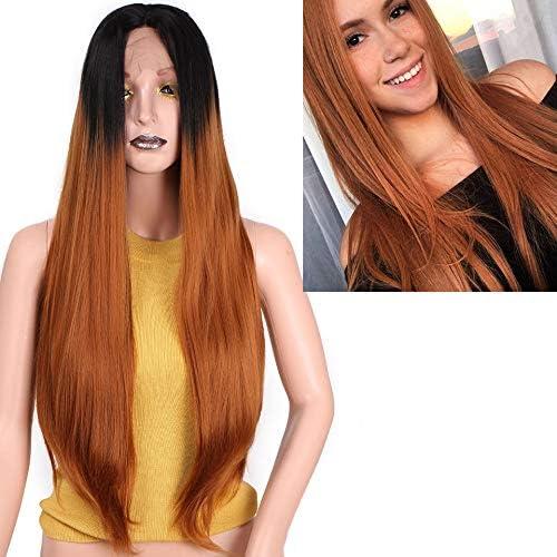 26 Pouces Long Rouge Synthétique Dentelle Avant Perruque Droite Perruque Noire Pour Les Femmes Omber Bcourir Et gris Cheveux Peut être Cosplay 26pouces M-or