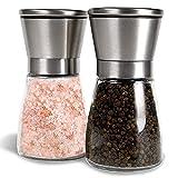 VKSG Salt and Pepper Grinder Set, Adjustable Coarseness Ceramic Pepper Mills Salt Grinder, Kitchen Cooking Salt and Pepper Shaker Spice Grinder Home Kitchen Chef Gift