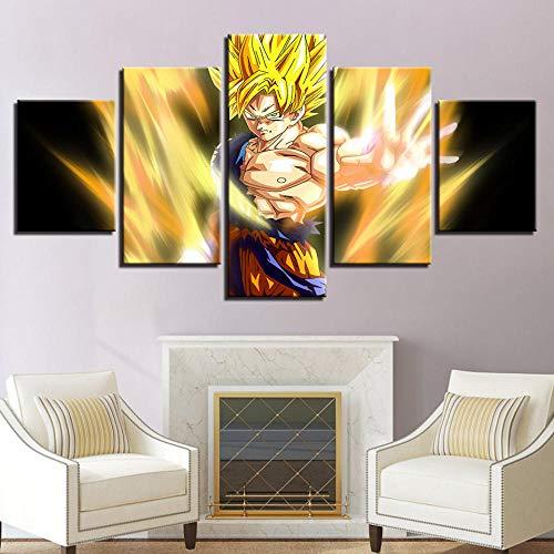 5 Piezas Lienzos Cuadros Pinturas Anime Dragon Ball Z Super Saiyan Goku Cuadros Modernos Impresión Imagen Artística El Arte De La Pared del Hogar Salón Oficina Mordern Decoración