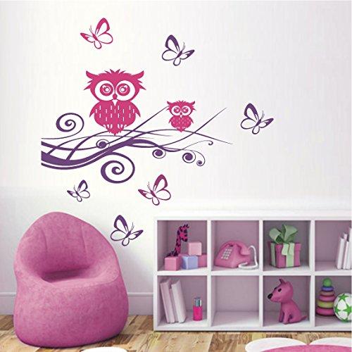 HomeTattoo ® WANDTATTOO Wandaufkleber 2 farbig Eule Ast Schmetterlinge Kinderzimmer 502 XL ( L x B ) ca. 160 x 160 cm Ast schwarz / Eulen (dunkelblau 050)