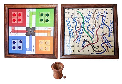 "Ortus Arts Classic Handmade Wooden 2 in 1 Ludo Magnetic Snakes and Ladders Travel Board Game for Kids and Adults Fun Game ""Made in India"""