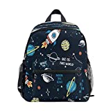 KLL Cartoon Space Rocket With Planets Star Slogan Backpack for Kids Boys Girls Chest Strap School Bag Elementary Bookbag Custom Pattern
