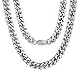 ChainsPro Collar Curb Cubano Miami Acero Inoxidable 10mm Ancho 18 Pulgadas Largo Plateado Joyería Gruesa para Hombre y Mujer Cadena Lisa Gorda