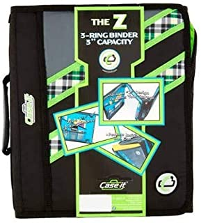 Case-it Z-Binder Two-in-One 1.5-Inch D-Ring Zipper Binders, Blue Plaid, Z-177-NEO-P