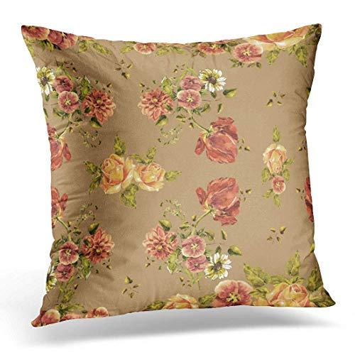 N / A Fundas para cojines de colores naturales con diseño de tulipán acuarela en ramo de flores sobre marrón claro y verde - Funda decorativa vintage para decoración del hogar