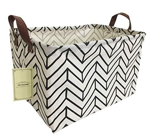 HIYAGON Rectangular Storage Box Basket for Baby, Kids or Pets - Fabric Collapsible Storage Bin for Organizing Toys,Nursery Basket,Clothing,Books, Gift Baskets (Geometry)