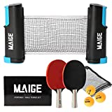 Maige Ping Pong Paddle Set | Table Tennis Paddle Set with Retractable Net | Portable Case and 3 Star Balls|...