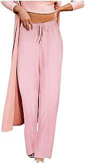 catmoew Pantalones Rectos Sueltos de Las Mujeres Moda Vendaje de Color sólido Cintura elástica Pantalones Anchos de Pierna...