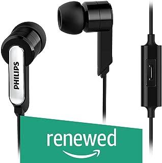 (Renewed) Philips SHE1405BK/94 in-Ear Headphone Headset with Mic - Black