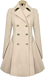 Ms. Spring and Autumn Commuter Slim Thin Coat Windbreaker Jacket TuanTuan (Color : Apricot, Size : XXL)