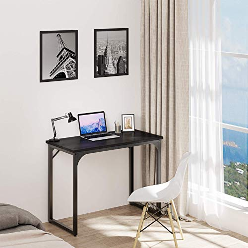"""YITAHOME Computer Desk 39"""" Modern Sturdy Office Desk PC Laptop Desk Study Writing Table for Home Office Workstation Black"""