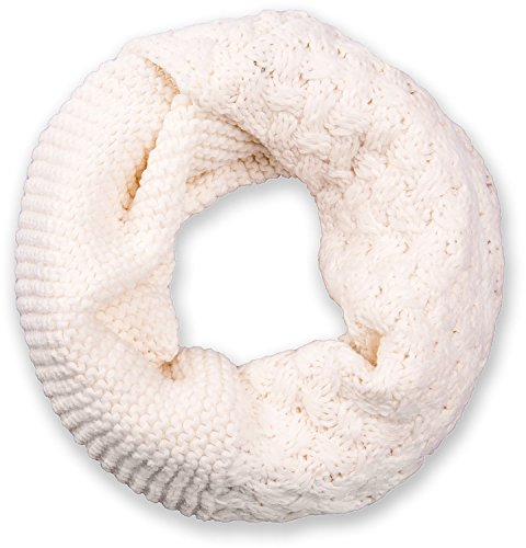 styleBREAKER sciarpa scaldacollo in maglia con mix di motivi, sciarpa ad anello in maglia fine a tinta unita, sciarpa invernale in maglia, unisex 01018153, colore:Crema-Bianco