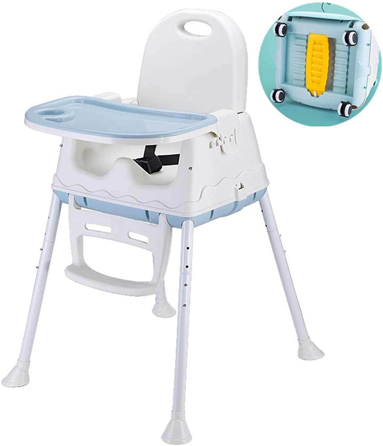 Adjustable 2-in-1 Baby Highchairs with Universal Wheel, High Chairs from 6 Months - 5 Years Old (color   bluee)
