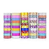 Cinta decorativa 50 unids / set Foil Washi Tape Glitter Masking Cinta adhesiva decorativa adhesiva pegatina Scrapbooking DIY Diario de papelería Suministros para álbumes de recortes artesanales
