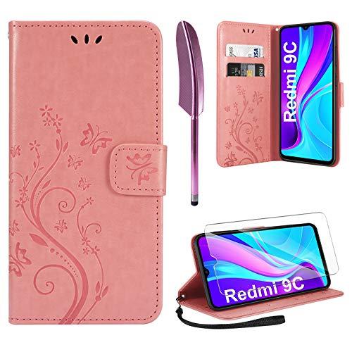 AROYI Lederhülle Kompatibel mit Xiaomi Redmi 9C Hülle & Schutzfolie, Flip Wallet Handyhülle PU Leder Tasche Hülle Kartensteckplätzen Schutzhülle Kompatibel mit Xiaomi Redmi 9C Rosa