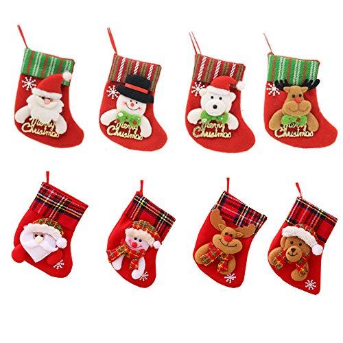 Amasawa 8 Piezas Calcetines Navidad Decoración Regalo Bolsas Navidad Calcetin Almacenamiento De Titular Dulces