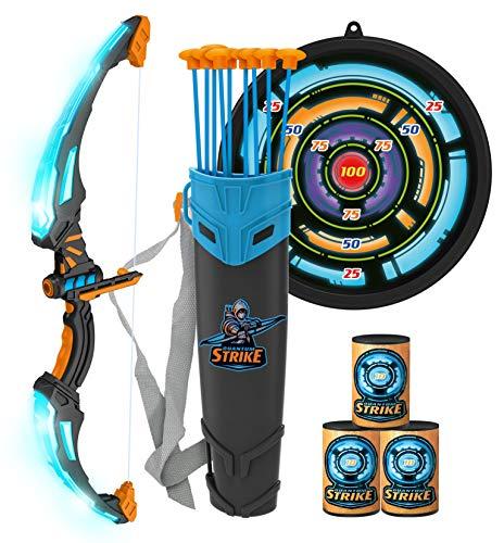 JOYIN Juego de juguete de arco y flecha para niños, juego de tiro con arco luminoso, 9 ventosas flechas, objetivos y carcaj