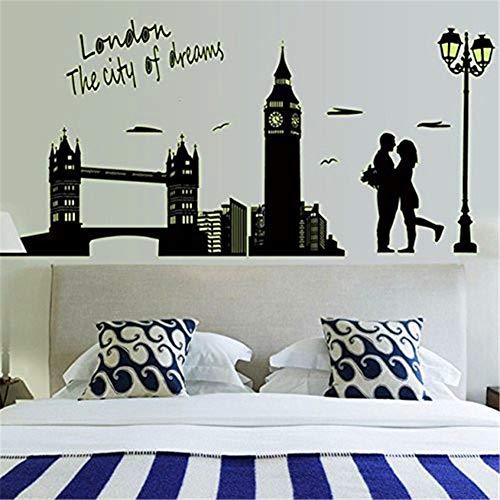 WESEEDOO Wandtattoo Fluoreszierender Wandtattoo London Bridge Eiffelturm Leuchtender Abnehmbare Romantischer Ort Abnehmbare Sticker Abnehmbarer Wandaufkleber 01
