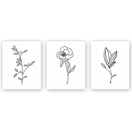 Amazon Com Unframed Abstract Flowers Wall Art Print Nordic Style Rose Leaf Art Wall Plant Painting Set Of 3 8 X10 Canvas Poster For Modern Wall Decor Housewarming Gift Posters Prints