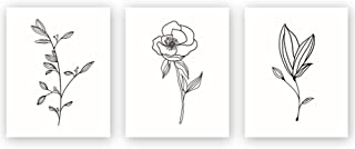 Unframed Abstract Flower Art Print Nordic Style Rose Leaf Art Wall Plant Painting, Set of 3(8''X10'') Canvas Poster for Mo...