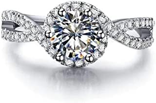 Platinum Plated 1.5 Carat Cubic Zircon Simulated Diamond Wedding Engagement Proposal Ring