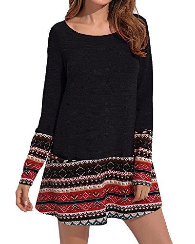 CNFIO Kleider Damen Blusenkleid Elegant Kleid Knielang mit Tasche Sweatshirt Pullover Casual Herbst Plus Size