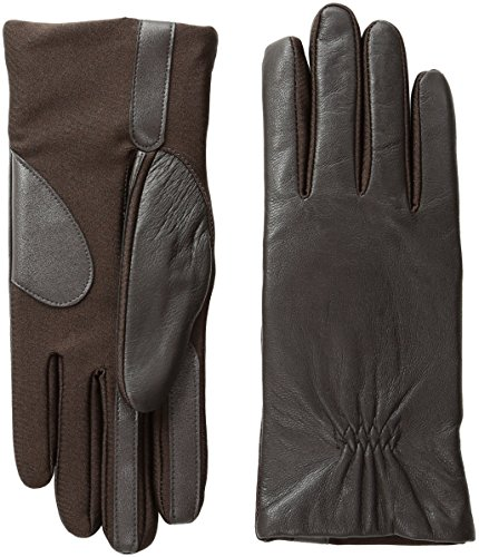 isotoner Women's Stretch Leather Gloves Fleece Lined with Smart Touch Technology, Brown, Small/Medium