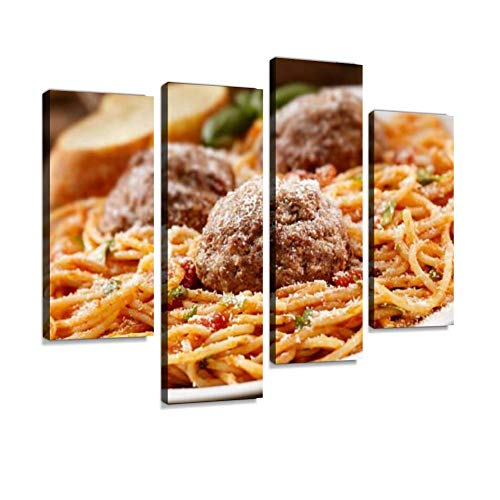 IGOONE 4 Panels Canvas Paintings - Spaghetti with Large Meatballs - Wall Art Modern Posters Framed Ready to Hang for Home Wall Decor