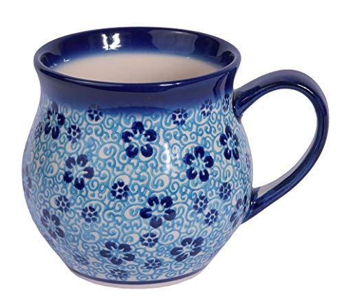 Traditionelle Polnische Keramik, handgefertigte keramische Tassen, ein Kugelbecher mit Muster im Bunzlauer Stil (350ml), Q.502.FLOW