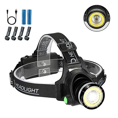 Hardhat Headlamp, 2 in 1 Newest T6 Spot(Zoomable)+COB Board Flood Light, 6000 Lumen Waterproof USB Rechargeable Hard Hat Head Lamp, Up-Close Work HeadLight with 4 Clips for Outdoor Camping Hunting