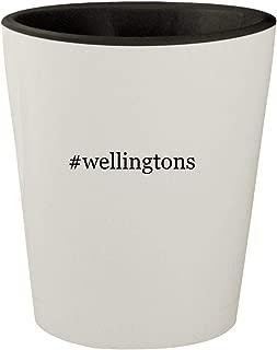 #wellingtons - White Outer & Black Inner Hashtag Ceramic 1.5oz Shot Glass