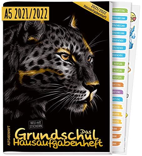 Hausaufgabenheft Grundschule 2021/2022 A5 [Leopard] | Das Grundschul-Hausaufgabenheft für Mädchen & Jungen + Lerntipps, Sticker, Lern- und Denkspiele | nachhaltig & klimaneutral