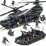 VanFty 2020新DIY・ビルディング・ブロックセット玩具特別オプスヘリコプター警察SWATモバイルヘリコプター武装アサルトボート1351pcsはハンズに改善アン武装防衛Team10 SWATのフィギュアが付属しています