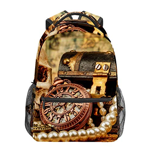 School Backpack Nautical Period Treasure Clock Pearl Necklace Skull Casual Travel Laptop Daypack Canvas Book Bags for Woman Girls Boys Student Adult Men