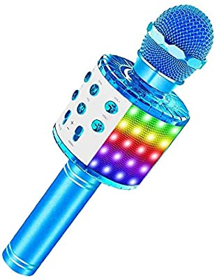Wireless Karaoke Microphone, 4 in 1 Bluetooth Handheld Portable Speaker Home KTV Player with Dancing LED Lights Record Function for Kids Party Singing, Compatible with Android & iOS Devices (blue)