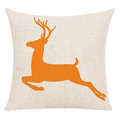 Funda de cojín de Ciervo saltarín de algodón y Lino, Funda de Almohada Decorativa Cuadrada para sofá, 45 x 45 cm con Cremallera Invisible