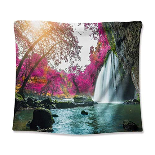 JIEJIE Tapices Cascada Lago Scenery Tapices Forest Forest Wall Decoración de la Pared Cubierta de la Pared Decoración del hogar Yoga Manta de la Manta Matra Manta de la Playa, M / 130x150cm (51'x59)