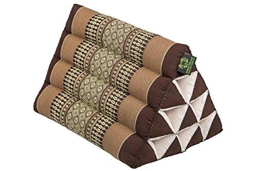 Handelsturm Pequeño cojín Thai Triangular 33 x 20 cm cojín con Relleno de kapok cojín Triangular de Tailandia - Cojín Decorativo y de Soporte reposacabezas Color marrón