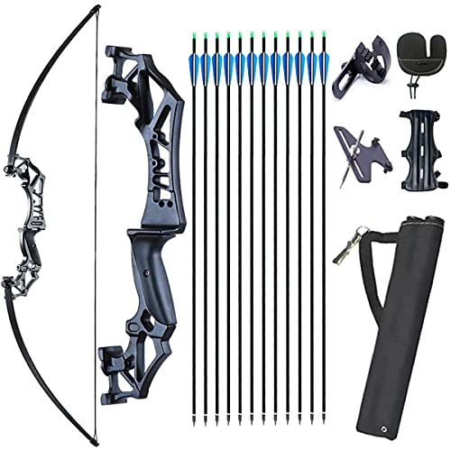 Monleap Archery 53' Takedown Recurve Bow and Arrows Set for Adults Metal Riser Longbow Kit Right Hand Straight Bow for Beginner Hunting Shooting Practice 30lb 40lb(Black,40lb)