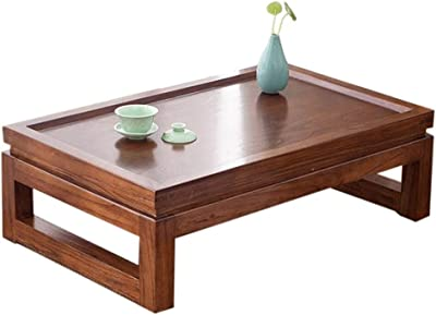 Table Solid Wood Coffee Japanese-Style Tea Tatami Coffee Zen Simple Wooden Bay Window Sill (Size : 50x40x25cm)