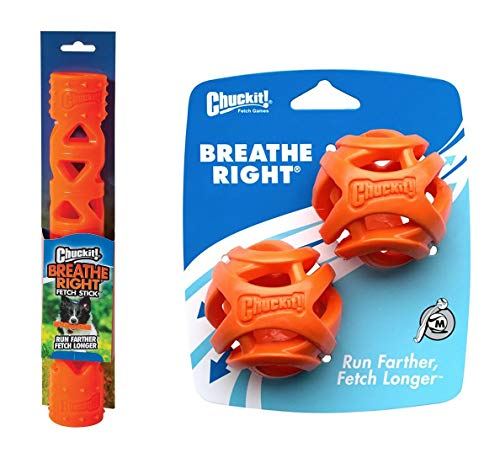 Chuckit! Breathe Right Dog Toy Bundle, 2 Medium Balls and 1 Large Stick, Makes Fetching Easier